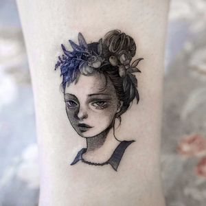 Beautiful girl by Zihae #Zihae #blackandgrey #illustrative #fineline #portrait #ladyhead #lady #face #flowers #leaves #nature #anime #tattoooftheday