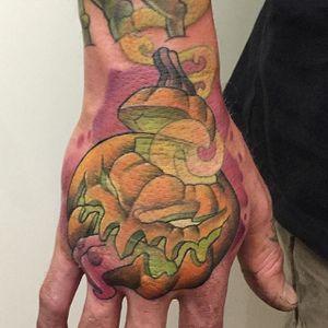 Creepy Jack-o-Lantern hand tattoo by Jack Douglas. #newschool #JackDouglas #halloween #pumpkin #jackolantern