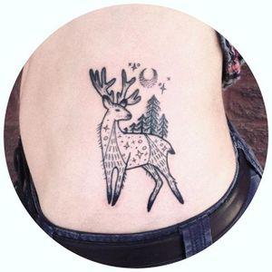 Blackwork deer tattoo by Morgan Alynn. #blackwork #linework #dotwork #MorganAlynn #deer