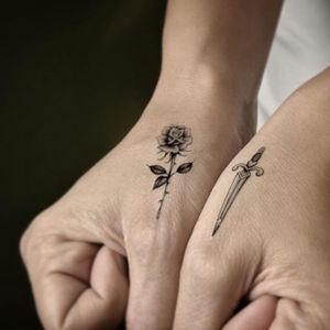 Tiny rose and dagger by Tim Hendricks and Alysha Nett for Tattoo You (via IG-alyshanett) #temporarytattoo #alyshanett #timhendricks #traditional #tattooyou