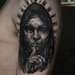 Horrifying nun tattoo by Darkmaru Tattooer. #nun #scary #horrifying #creepy #macabre #portrait #horror #blackandgrey #sinister #evil