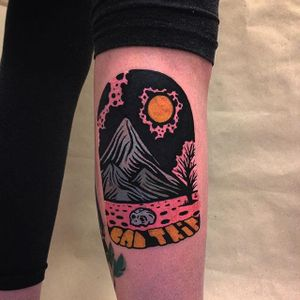 Linocut Landscape Tattoo by Eugene Nedelko #linocut #linocutlandscape #landscape #print #mountain #sun #skull #EugeneNedelko