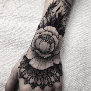 Mandala flower by Nate Silverii #NateSilverii #blackandgrey #mandala #flower #peony #shapes #geometric #ornamental #leaves #nature #pattern #whiteink #dotwork #linework #tattoooftheday