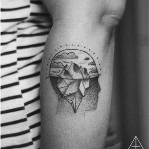 Iceberg tattoo by Andreas Franca. #iceberg #blackwork #ice #mountain #arctic #dotwork #humanmind #andreasfranca