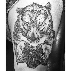 Grizzly Bear Tattoo by Sam Rulz #IllustrativeTattoos #Illustrative #Etching #Illustration #Blackwork #SamRulz #grizzly #bear #grizzlybear