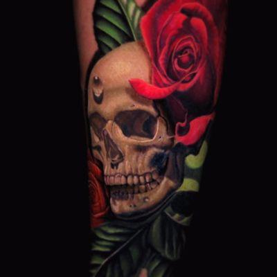 The beauty of death by Jose Guevara Morales #JoseGuevaraMorales #BlackAnchorCollective #realism #realistic #hyperrealism #skull #rose #bones #water #teardrop #leaves #nature #death #flowers #tattoooftheday