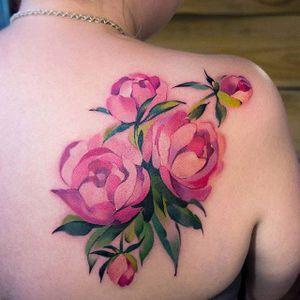 Peonies by Sasha Marsh (via IG-sasha_rdrvn) #tattooartist #artist #watercolor #color #flowers #peony #SashaMarsh