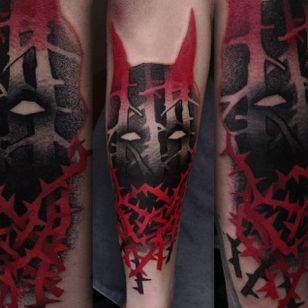 Black and red semi-abstract tattoo by Łukasz Sokołowski. #LukaszSokolowski #semiabstract #blackandred #abstract #graphic #conceptual #devil