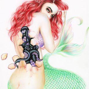 Mutant mermaid via @relmxx #Relm #ARTSHARE #painting #fineartist