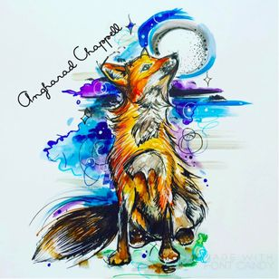 Fox tattoo design by Angharad Chappell #AngharadChappell #fox #watercolour