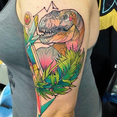 Vibrant T-Rex by Katie Shocrylas #KatieShocrylas #watercolor #trex #dinosaur #plant #tattoooftheday