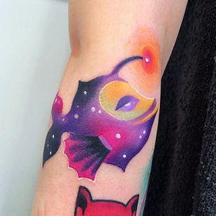 Fish Tattoo by Ilona Kochetkova #AbstractTattoo #GraphicTattoos #ModernTattoos #ColorfulTattoos #BirghtTattoos #Minsk #ModernTattooArtists #IlonaKochetkova