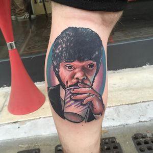 Jules Tattoo by Alex Ciliegia #pulpfiction #tarantino #tarantinotattoo #popculture #popculturetattoo popculturetattoos #charactertattoos #portraittattoos #celebritytattoo #poptattoos #iconictattoos #AlexCiliegia