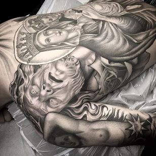 Epic backpiece via @juan_teyer #JuanTeyer #blackandgrey #religious #backpiece
