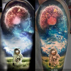 Space Tattoo by Aleksandr Romashev #space #spacetattoo #cosmic #cosmictattoo #galaxy #AleksandrRomashev