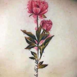 Watercolour realism peonies tattoo by Chloe Aspey #ChloeAspey #peonies #flower #realistic #watercolour