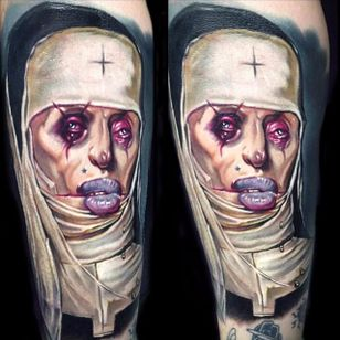 Bruised and scarred nun tattoo by Paul Acker. #PaulAcker #colorrealism #horrorrealism #nun #scary #horrifying #creepy #macabre #portrait #horror