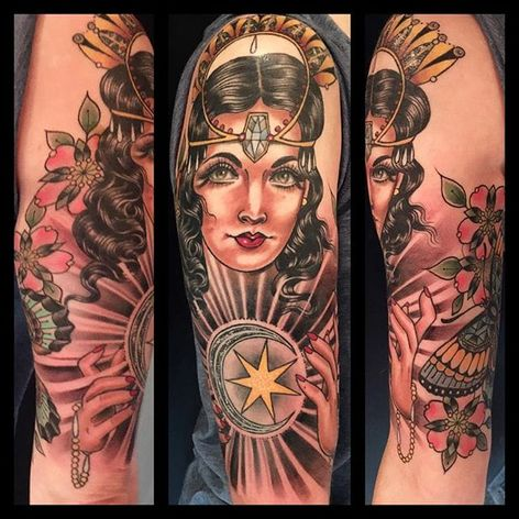 Mystical Lady by Rose Hardy (via IG-rosehardy) #ladyhead #traditional #neotraditional #detailed #color #rosehardy