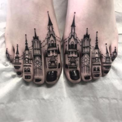 Tower toes by Heidi Furey #HeidiFurey #blackwork #linework #dotwork #castle #tower #buildings #architecture #stainedglass #church #tattoooftheday
