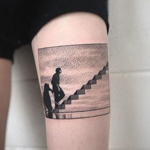Truman Show tattoo by Charley Gerardin #charleygerardin #favoritetattoo #dotwork #blackandgrey #filmtattoo #movietattoo #thetrumanshow #stairs #man #surreal #JimCarrey #actor