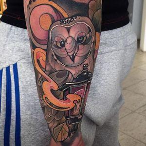Owl Tattoo by Oash Rodriguez #owl #owltattoo #neotraditionalowl #neotraditionaltattoos #neotraditionaltattoo #neotraditional #neotraditionalartist #OashRodriguez