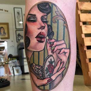 Self medicating via instagram hannahflowers_tattoos #medicine #pills #woman #portrait #neotraditional #color #ladyhead #hannahflowers