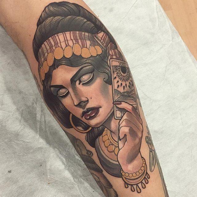 Fortune-teller portrait tattoo by Mimi Madriz. #MimiMadriz #neotraditional #portrait #fortuneteller #clairvoyant #psychic