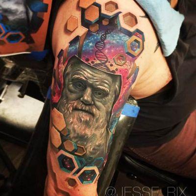 Da Vinci #JesseRix #realismo #realism #3d #gringo #geometric #geometrica #LeonardodaVinci #davinci #dna #cosmic #cosmica #galaxy #galaxia #space #espaço #homem #mann