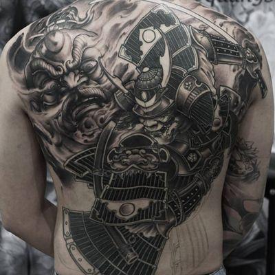 A samurai with Rajin in the background behind him by Quang Sta (IG—quan9sta). #Irezumiinspired #largescale #neoJapanese #QuangSta #Rajin #samurai