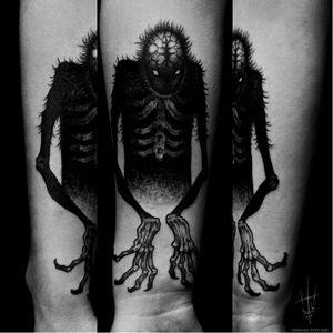 Scary monster tattoo by Sergei Titukh #SergeiTitukh #blackwork #monster