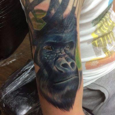 Tattoo por Connor Prue! #ConnorPrue #realism #realismo #gorila #realismocolorido #gorilla #animals #animais #nature #natureza