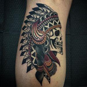 Native American Skull Tattoo by Drake Sheehan #nativeamerican #skull #traditional #traditionalartist #oldschool #boldwillhold #DrakeSheehan