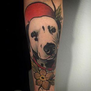 Neo trad dalmatian piece by Eric Moreno. #neotraditional #dog #dalmatian #flower #EricMoreno