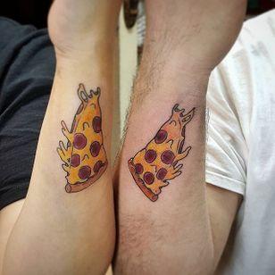 Pizza Tattoo by Elizabeth Avila #matchingtattoos #couplestattoos #couple #ElizabethAvila