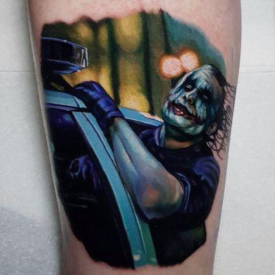 The Joker by Alex Wright #AlexWright #realism #realistic #hyperrealism #color #Batman #Joker #HeathLedger #heathledgerjoker #whysoserious #movie #movietattoo #tattoooftheday