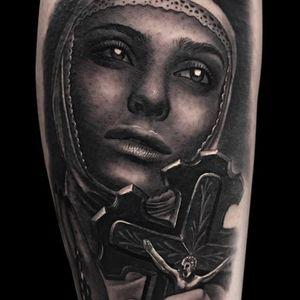 Dark nun tattoo by Jumilla Olivares #JumillaOlivares #blackandgrey #realistic #portrait #dark #nun