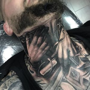 Cut Throat Tattoo by Ben Kaye #cuthroat #razor #realism #blackandgrey #blackandgreyrealism #portrait #BenKaye