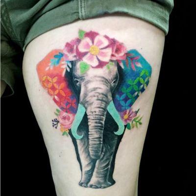 A watercolor elephant by Adriana Talulah (IG—talulahtattoos). #AdrianaTalulah #elephant #watercolor