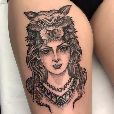 Forest Spirit by Matt Stopps #MattStopps #blackwork #newtraditional #ladyhead #portrait #wolf #face #feathers #jewelry #nativeamerican #lady #pattern #forest #tattoooftheday