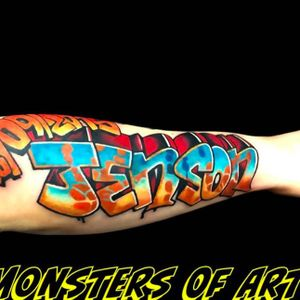 Graffiti tattoo by Dan Gold #dangold #londonink #nuschool #newschool #graffiti #popart (Photo: Instagram)