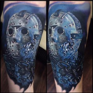 Jason Voorhees by @paulackertattoo #PaulAcker #horror #jasonvoorhees #fridaythe13th #scary