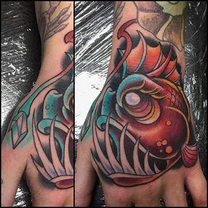 Anglerfish Tattoo by Pete Silva III #anglerfish #anglerfishtattoo #anglerfishtattoos #angler #anglertattoo #fish #fishtattoo #traditional #traditionalanglerfish #PeteSilvaIII