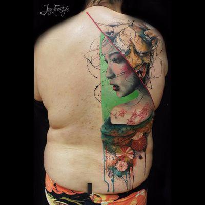 Tattoo por Jay Freestyle! #JayFreestyle #conceitual #conceptual #conceptart #colorful #hannya #gueisha #geisha #gueixa