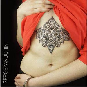 Half mandala tattoo by Sergey Anuchin #SergeyAnuchin #linework #geometric #ornamental #mehndi #mandala #sternum