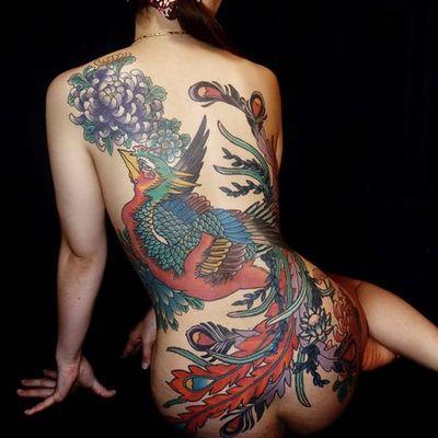 Phoenix back-piece by Shion #Shionirezumi #japanese #phoenix #chrysanthemum #color #tattoooftheday