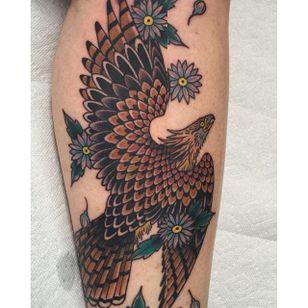 Traditional Hawk Tattoo by Dean Denney #Hawk #TraditionalHawk #BirdTattoo #TraditionalBird #DeanDenney