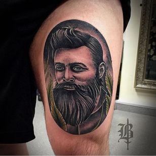 Ned Kelly Tattoo by Simon Broomfield #NedKelly #NedKellyTattoo #OutlawTattoo #FolkloreTattoos #AustralianTattoos #SimonBroomfield
