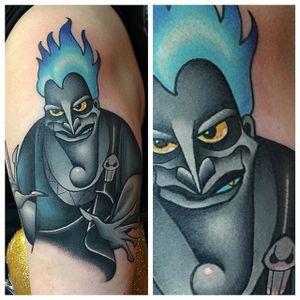 Tattoo by Pat Bennett. Awesome use of grey tones on this tattoo #Hades #Disney #DisneyVillain #Hercules #WaltDisney #PatBennett