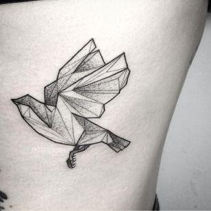 Dove tattoo by Fin T. #FinT #malaysia #geometric #animal #origami #pointillism #dotwork #bird #dove