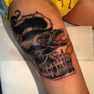 Skunk Tattoo by Sara MacNeil #Skunk #SkunkTattoo #AnimalTattoo #WildlifeTattoos #SaraMacNeil